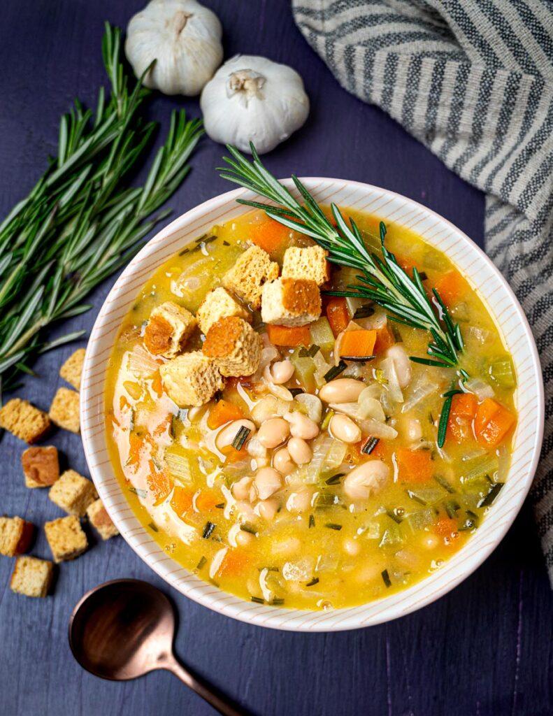 Photo of a vegan white bean soup