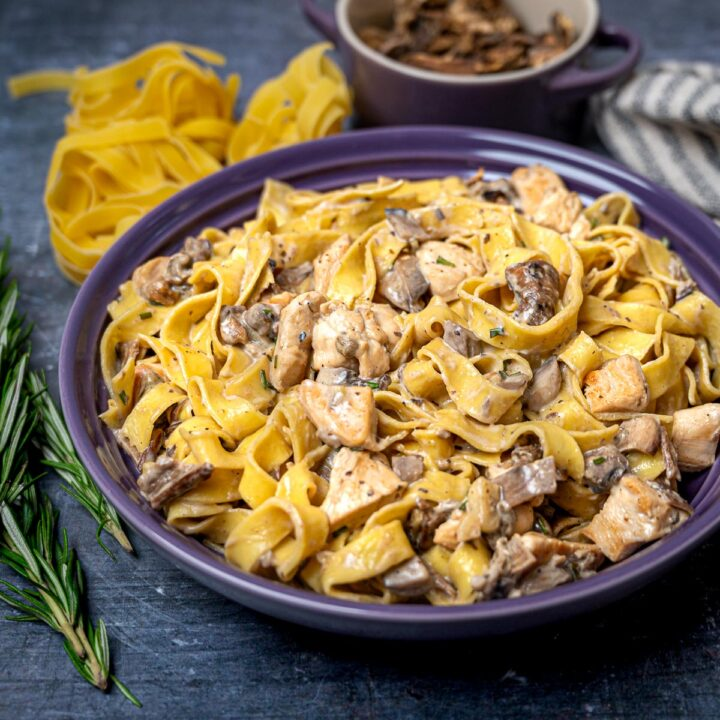 A close up photo of pasta with mushrooms and chicken