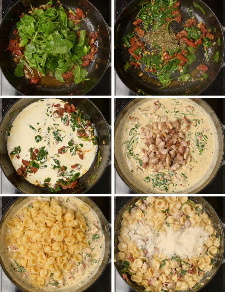 Step by step instructions for making chicken pasta with sundried tomatoes