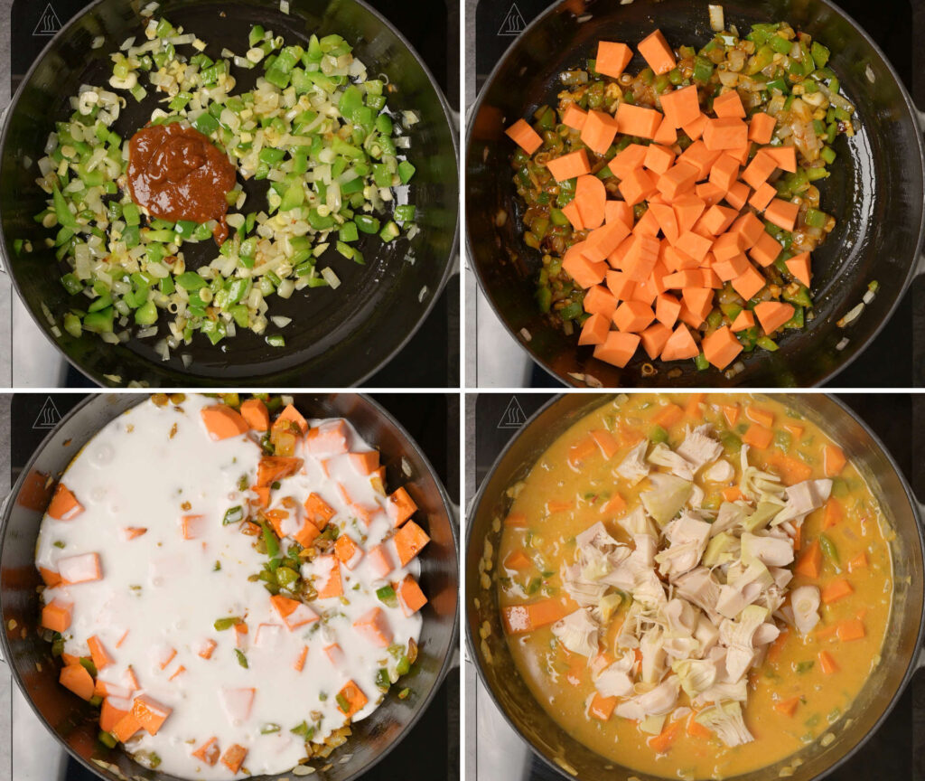 Step by step photo carousel for making jackfruit rendang curry