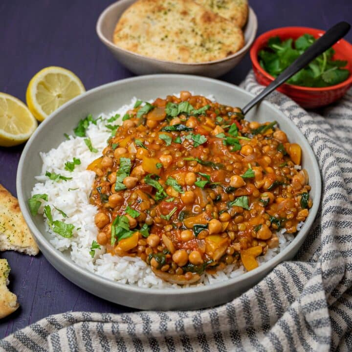 A photo of a bowl of vegan curry