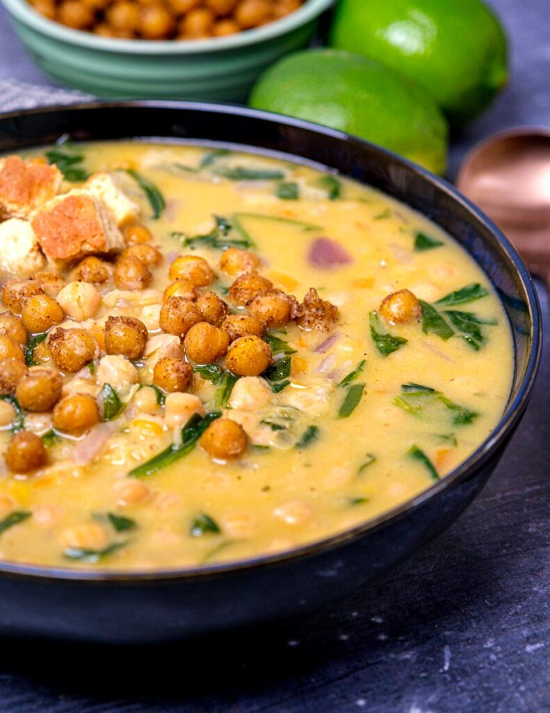 Photo of a bowl of chickpea soup