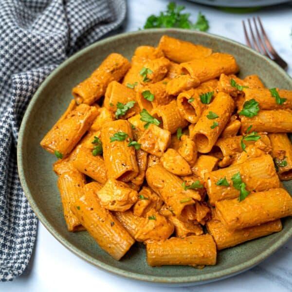 photo of a spicy chicken pasta