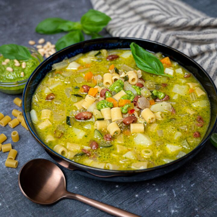 A photo of a bowl of summer minestrone