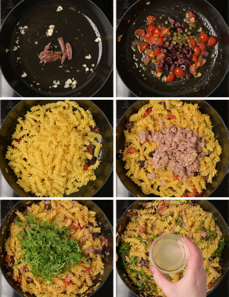 Step-by-step instructions on making tuna pasta