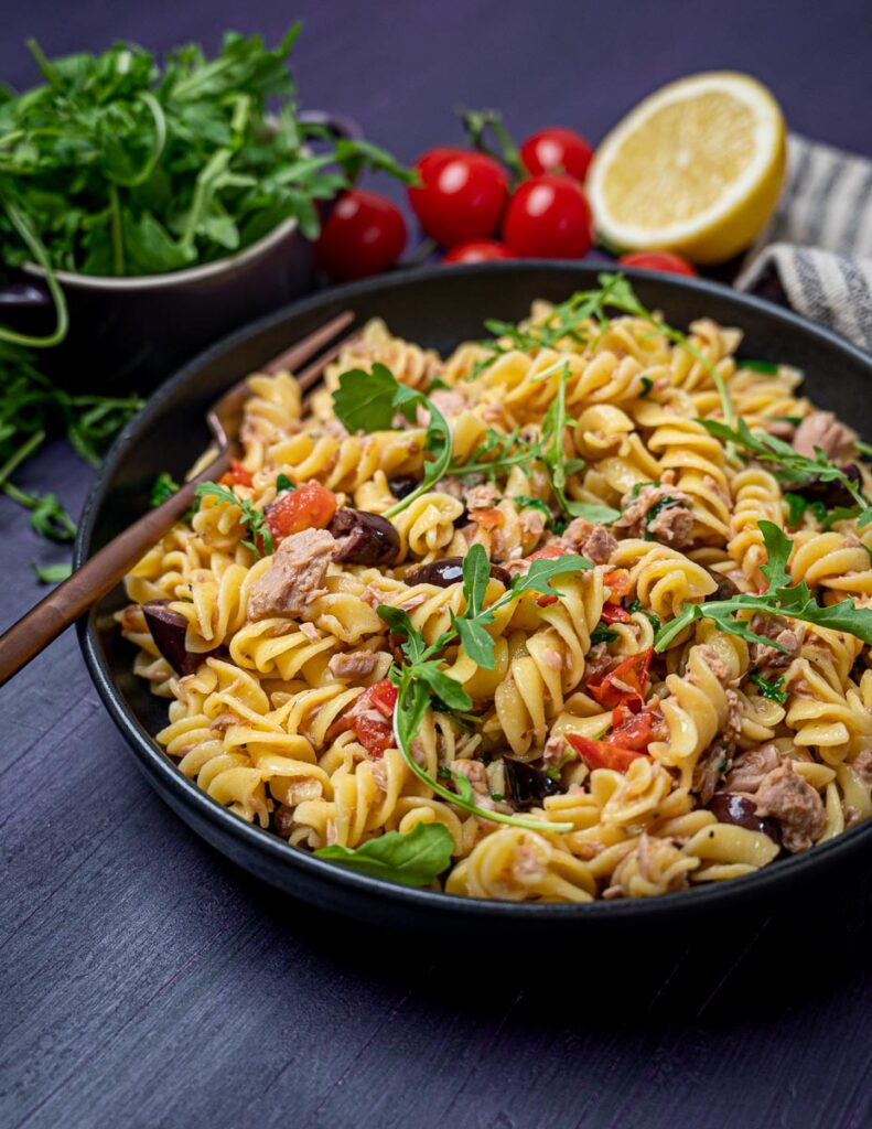 Photo of a bowl of pasta wit tuna and anchovies