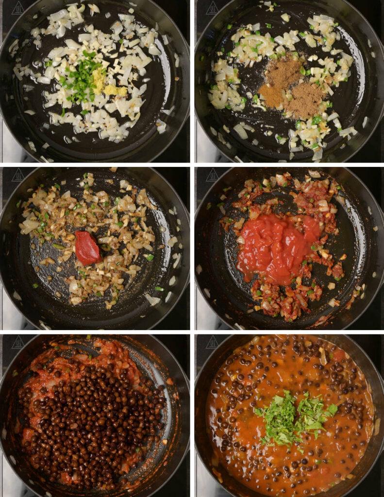 A step-by-step photo for making kala chana masala