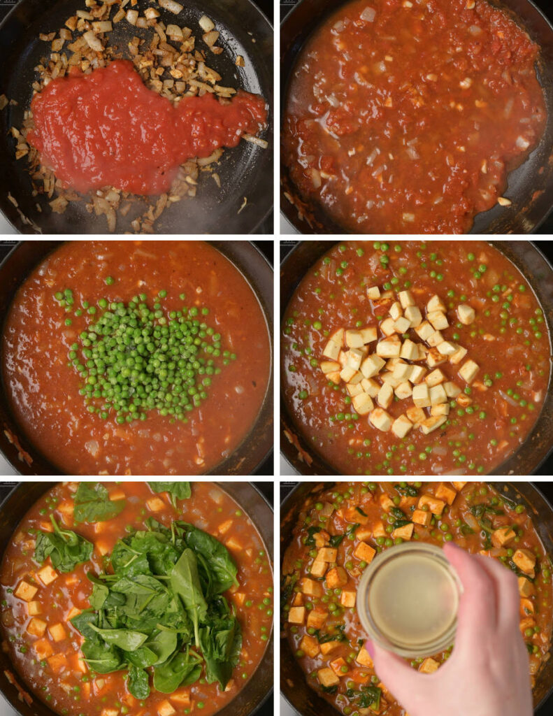 Step by step pics on making paneer curry