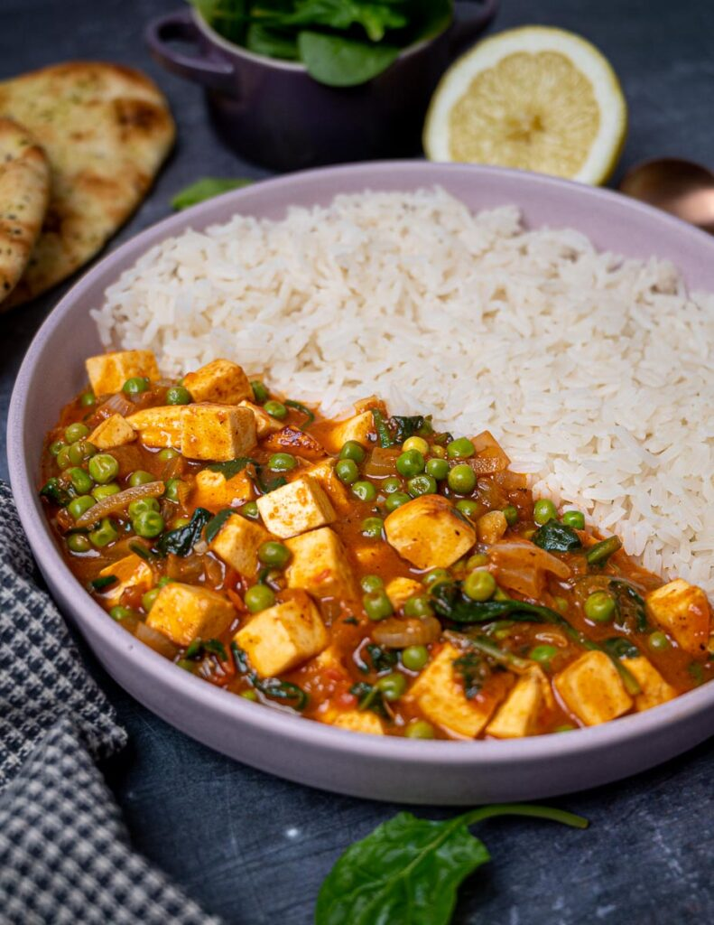 A bowl of paneer curry with rice