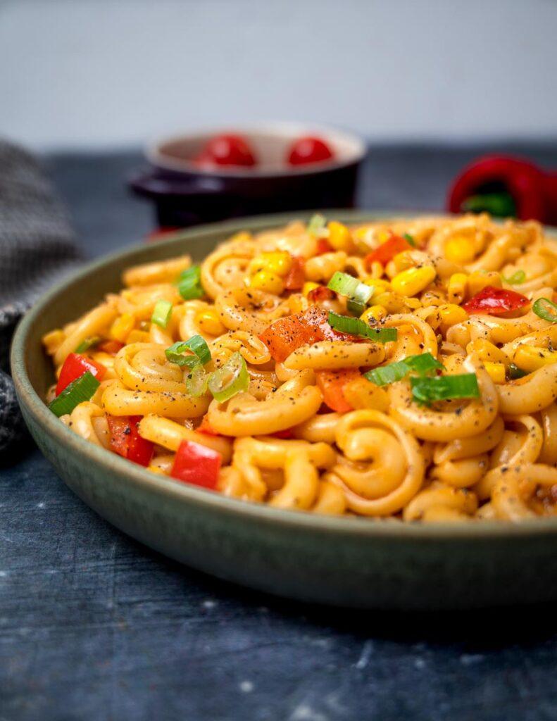 A plate of vegan cajun pasta