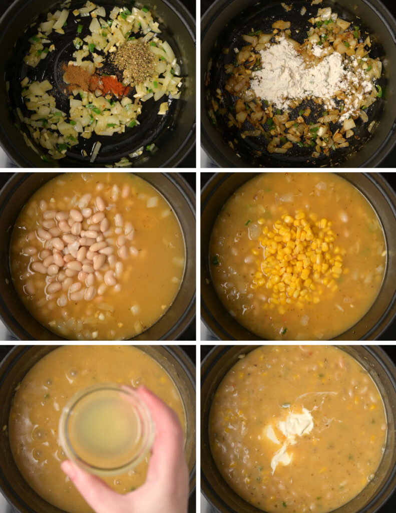 Step by step instrucions on making white chili