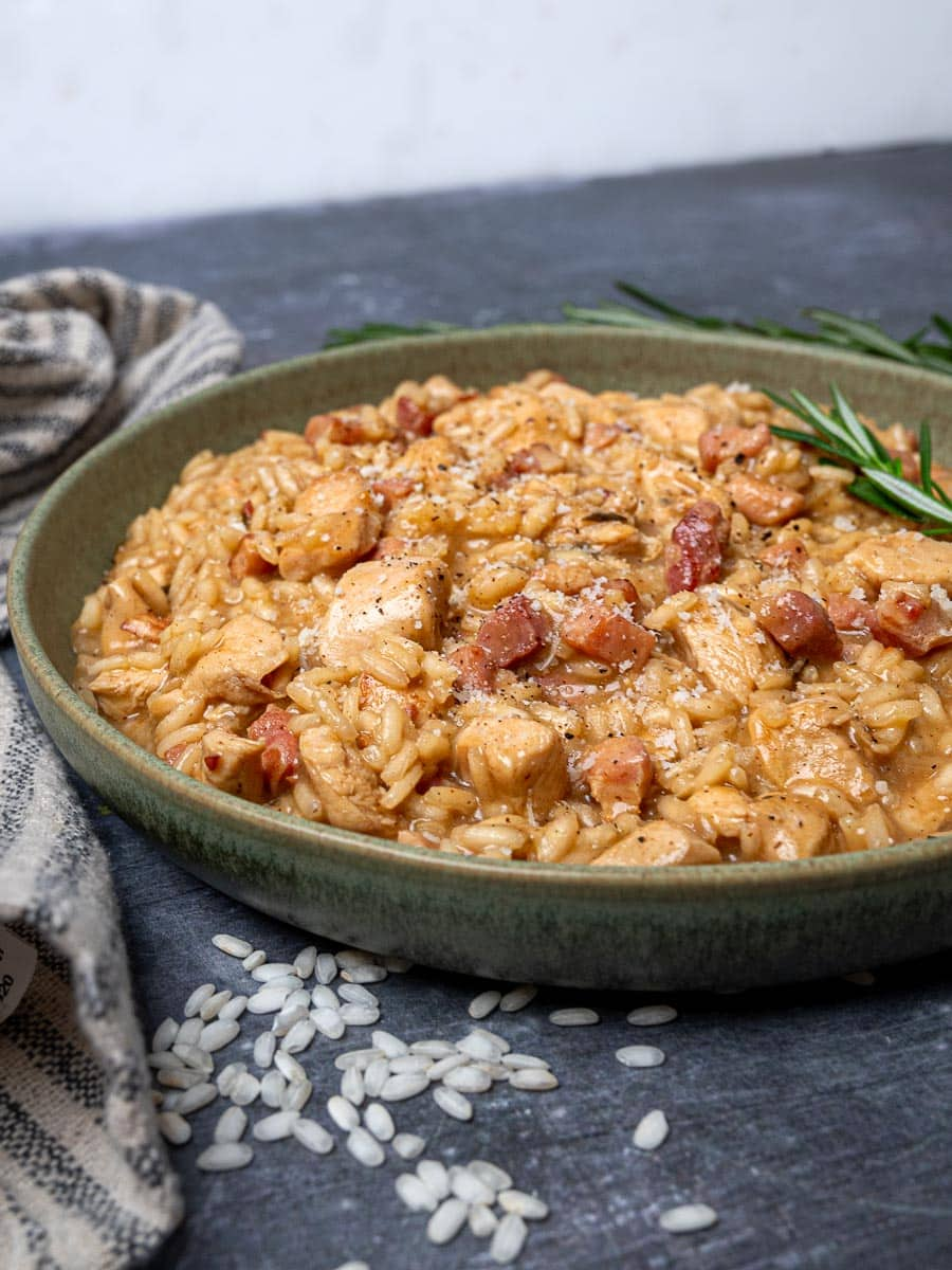A bowl of risotto with pancetta