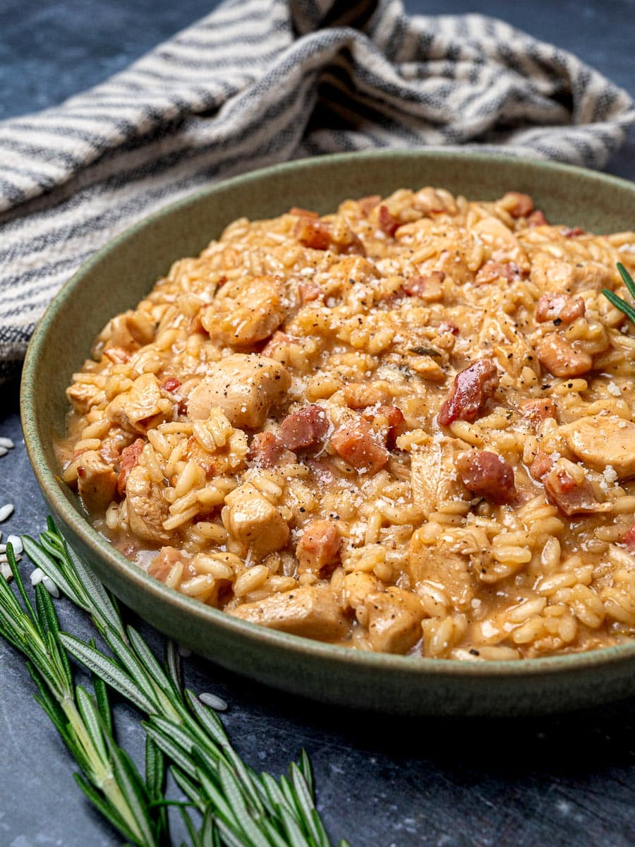 A bowl of bacon and chicken risotto
