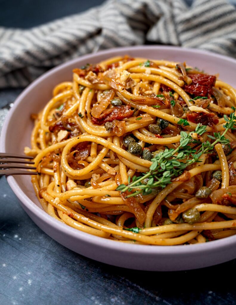 A bowl of caramelized onion pasta