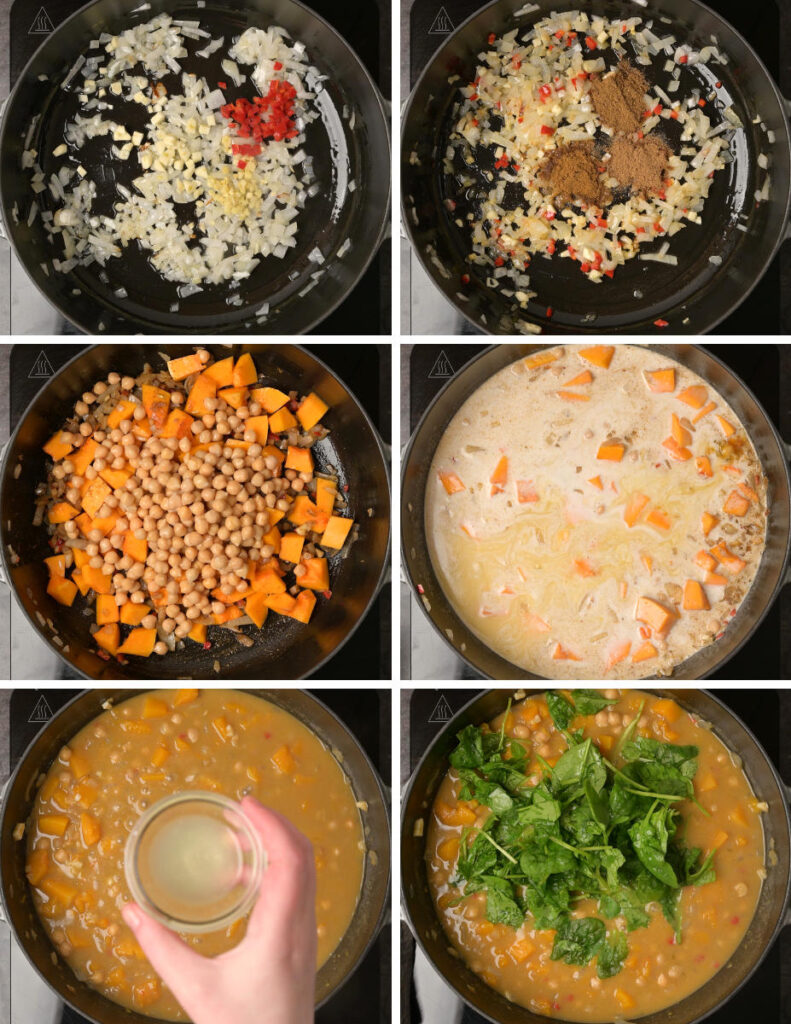Step by step instructions for cooking butternut squash curry