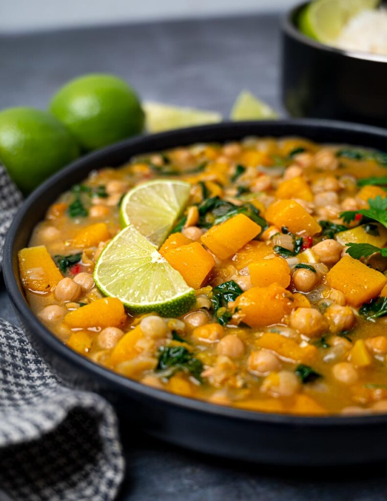 Close up photo of a bowl of butternut squash chickpea curry