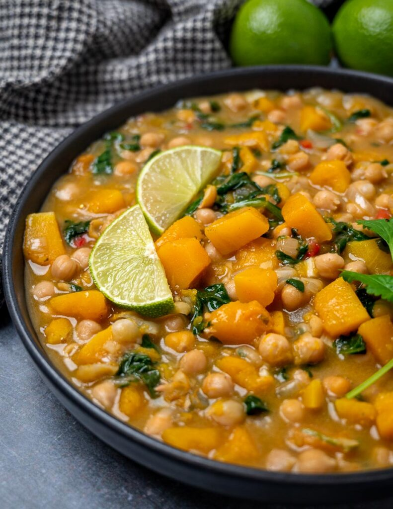 A bowl of butternut squash chickpea curry