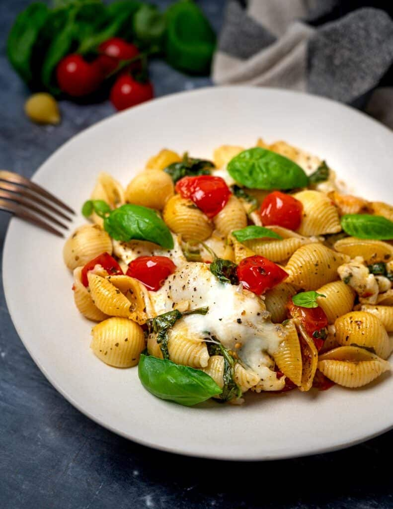 A plate of vegetarian pasta with tomatoes and mozzarella