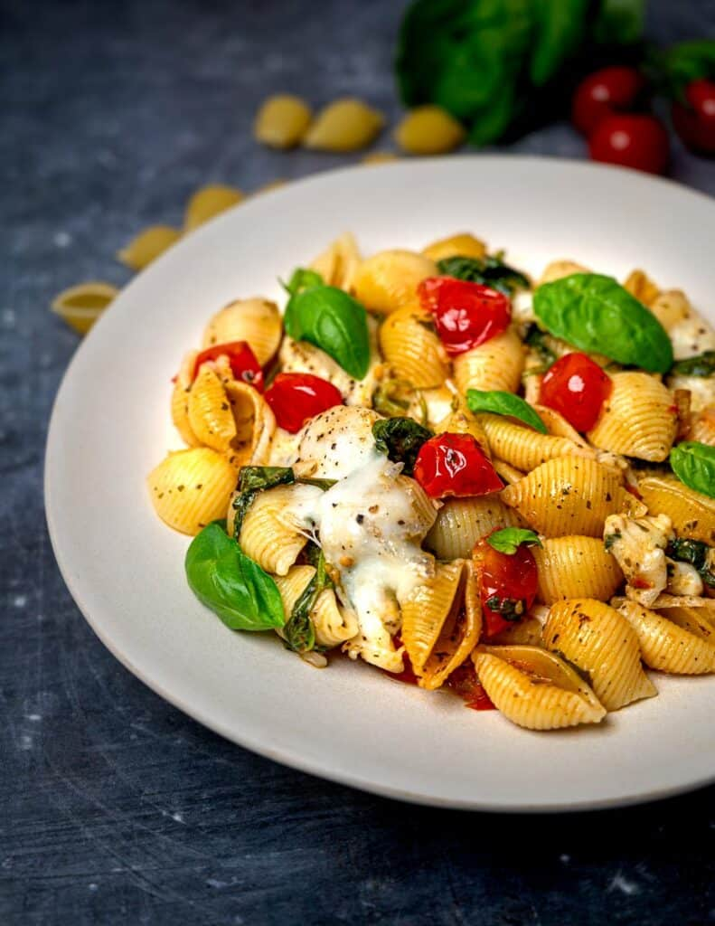 A plate of Caprese pasta bake