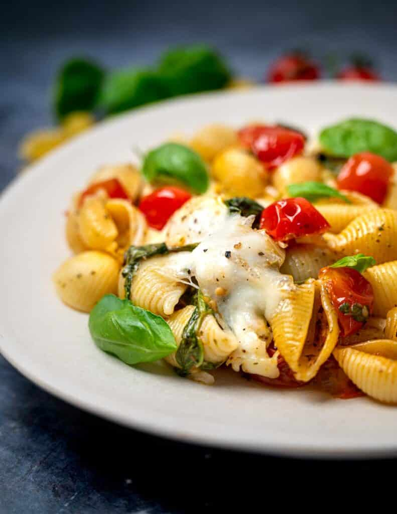 A close-up photo of a plate of Caprese pasta bake