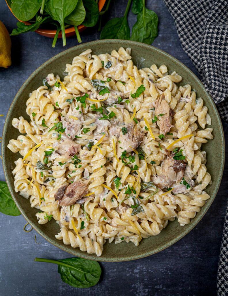 A plate of smoked mackerel pasta