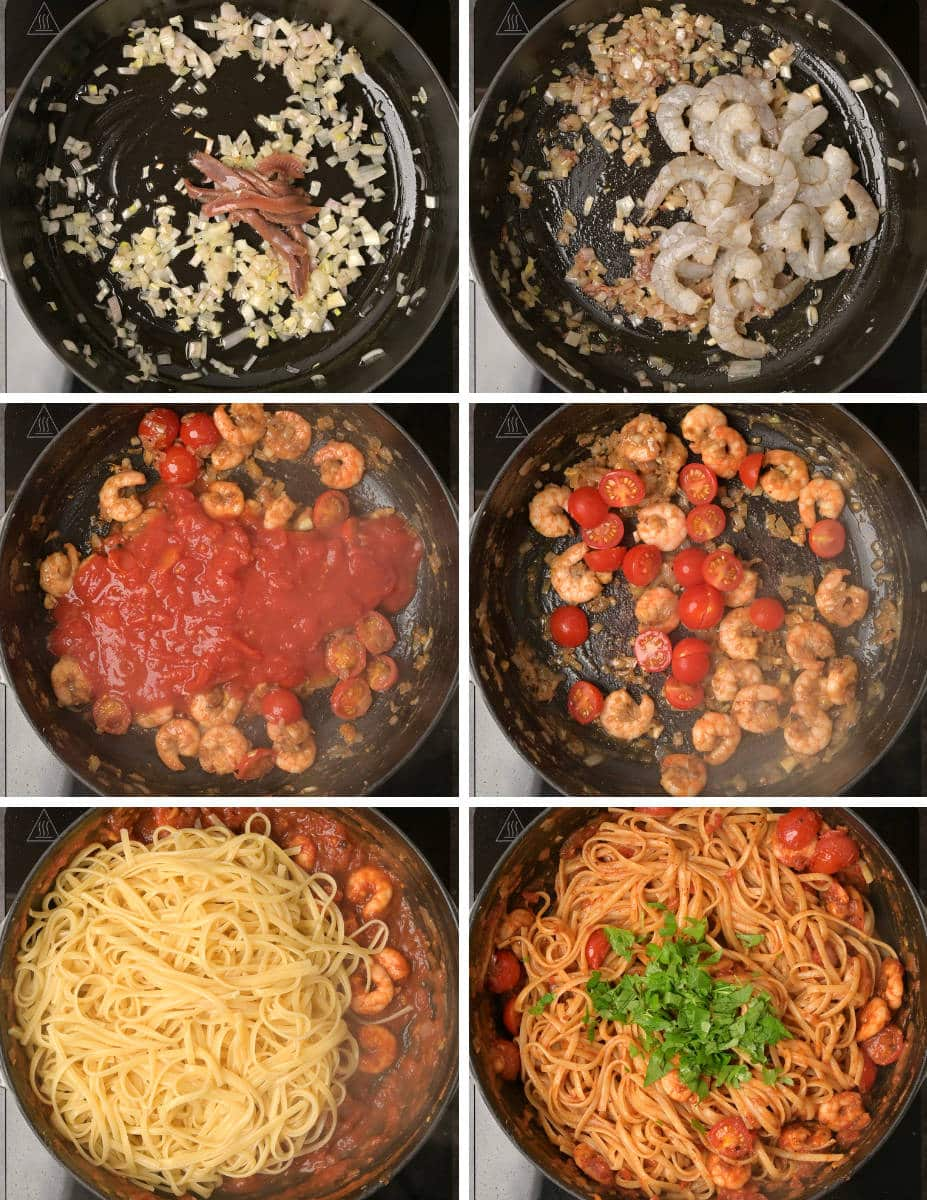 Step by Step instructions for making spicy prawn pasta