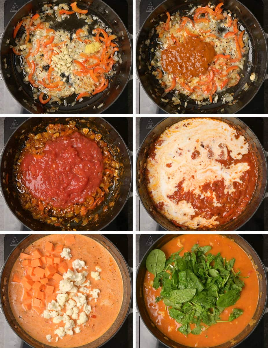 Step-by-step instructions on making vegan red Thai curry