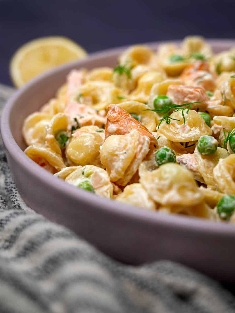 Close up photo of an Italian dish with salmon