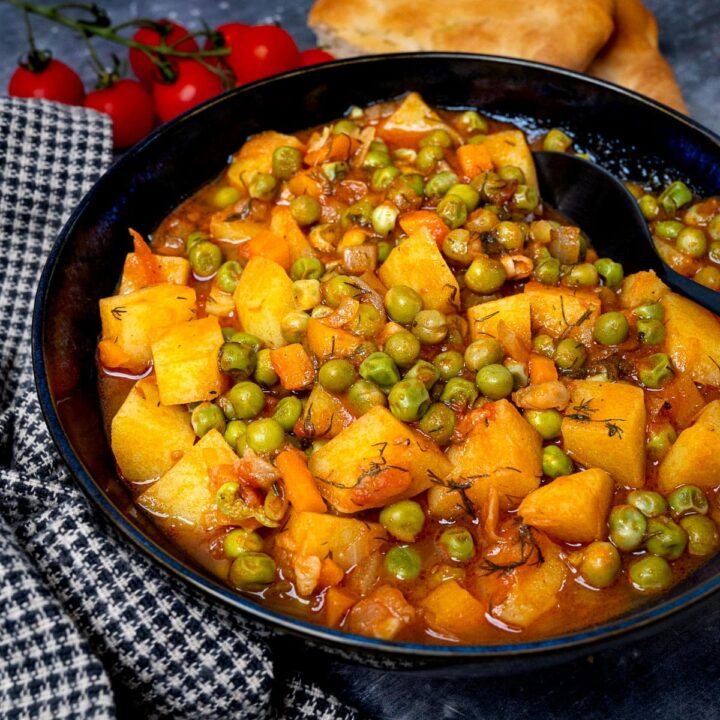 a bowl of greek peas stew