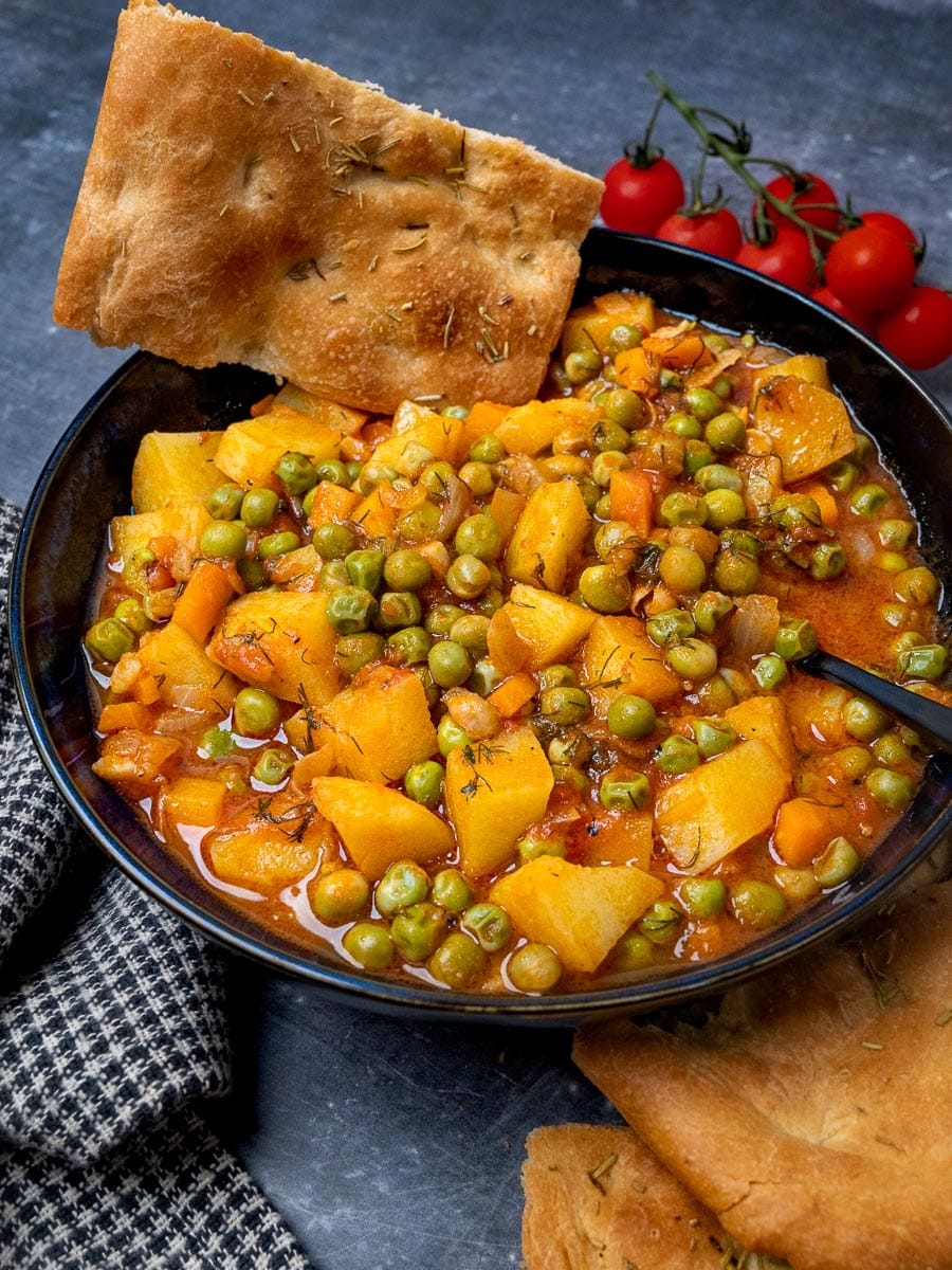 Greek peas stew with bread on the side.