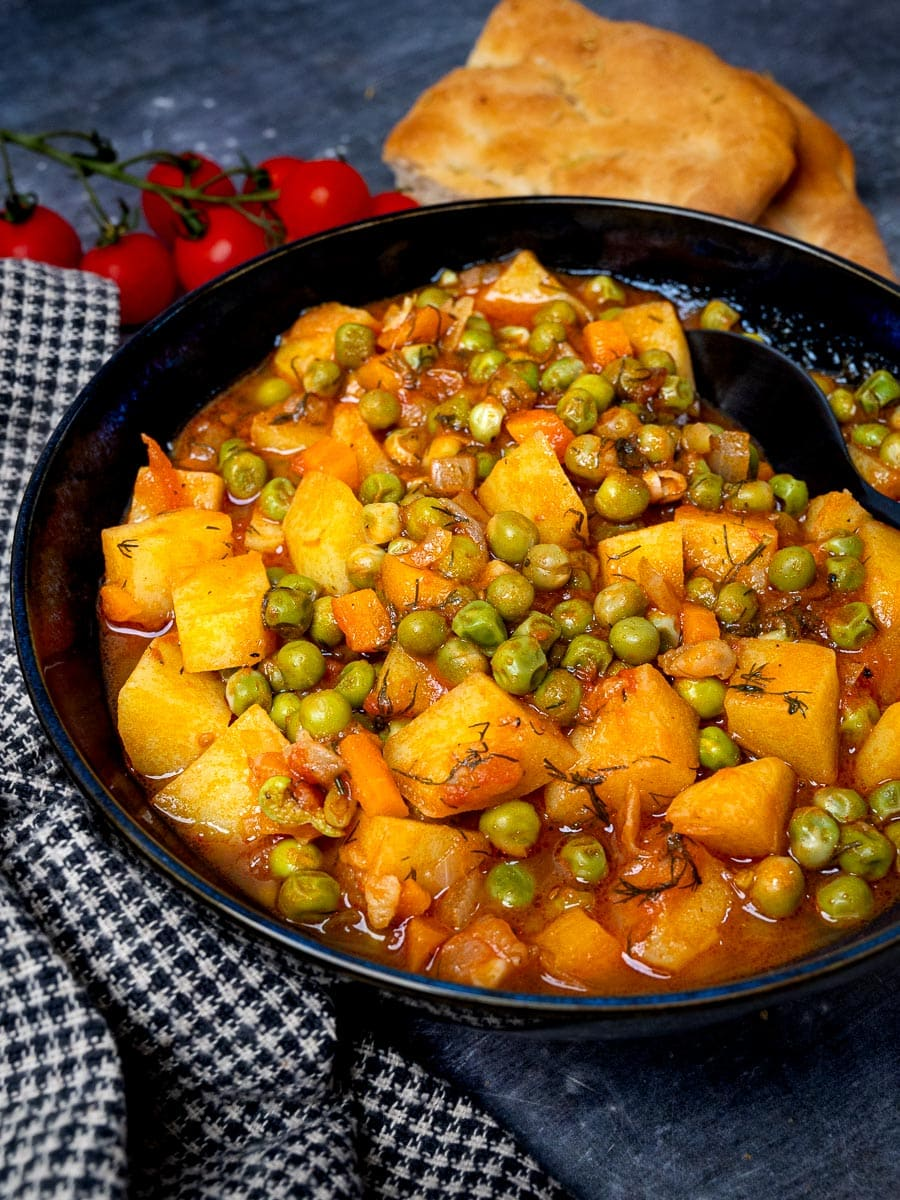 A bowl of Greek peas stew with potatoes