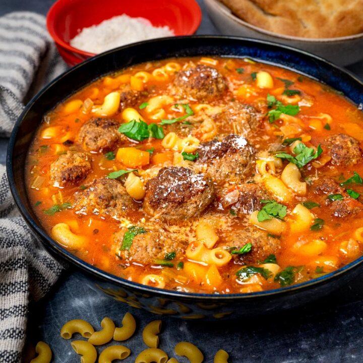 a bowl of Italian meatball soup