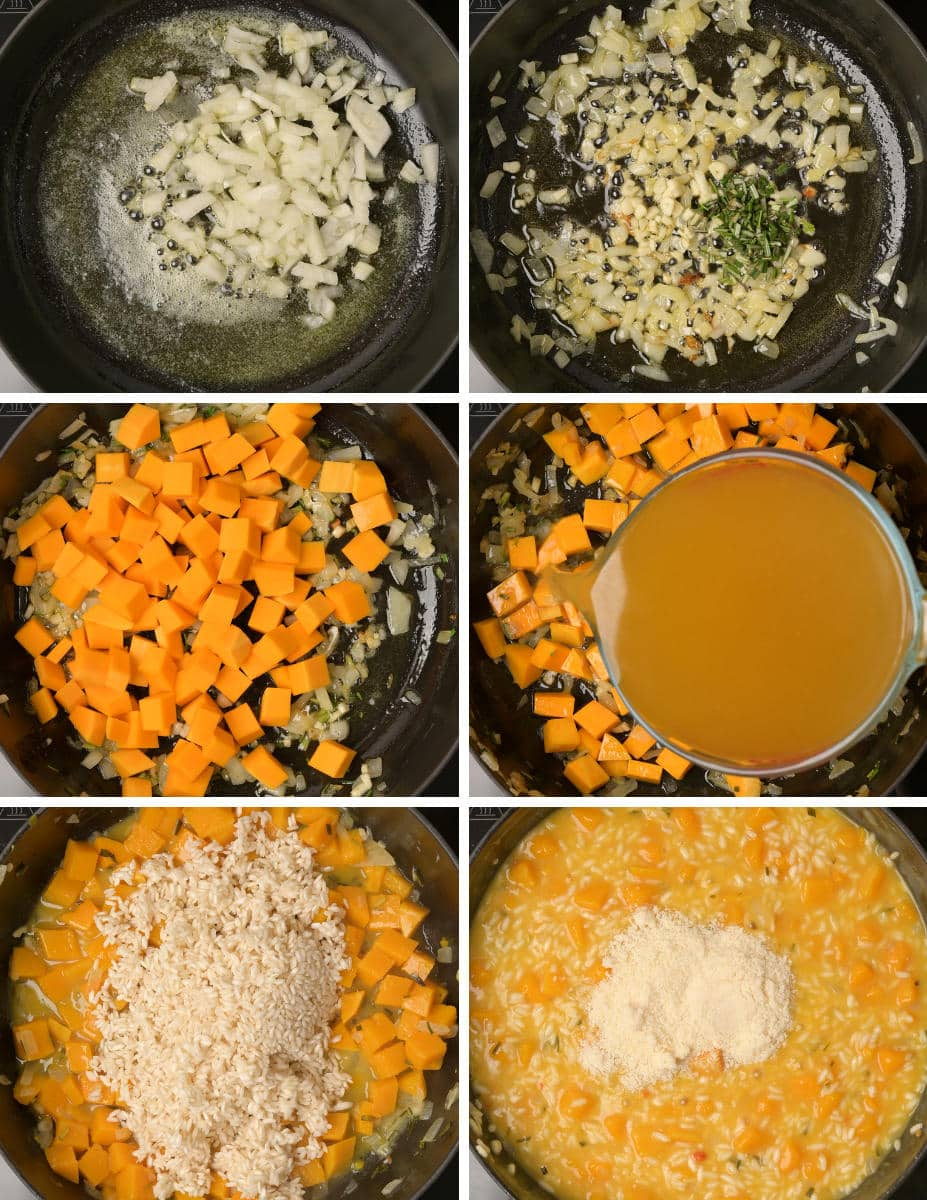 Step by step instructions on how to make squash risotto