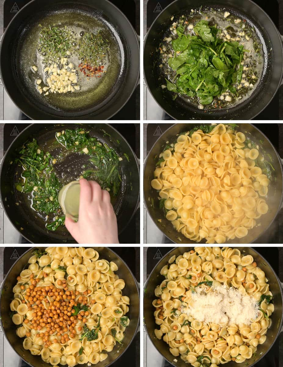 Step by step instructions on cooking pasta with roasted chickpeas