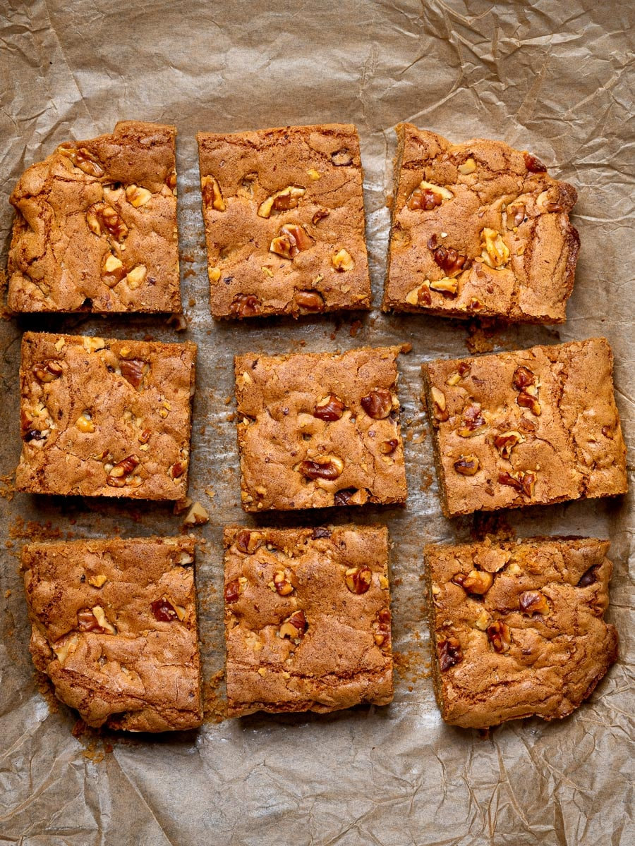 A tray of blondies cut into nine pieces