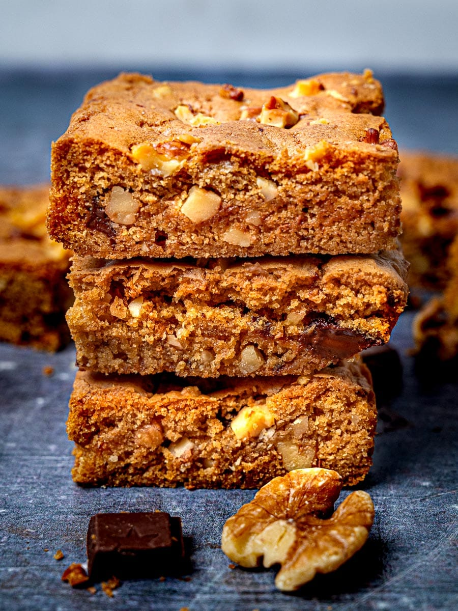 A stack of blondies with Biscoff