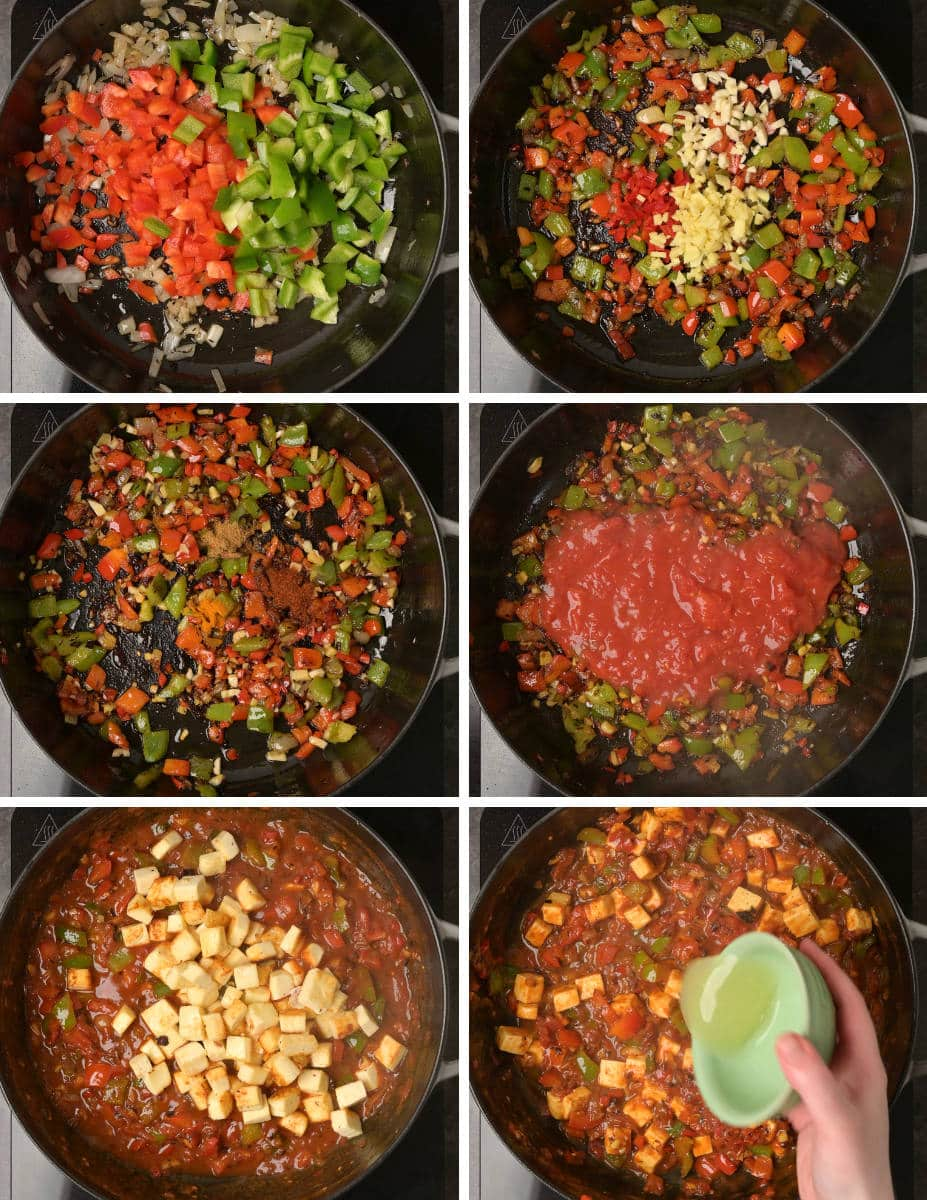 Step by step instructions for making vegetarian jalfrezi