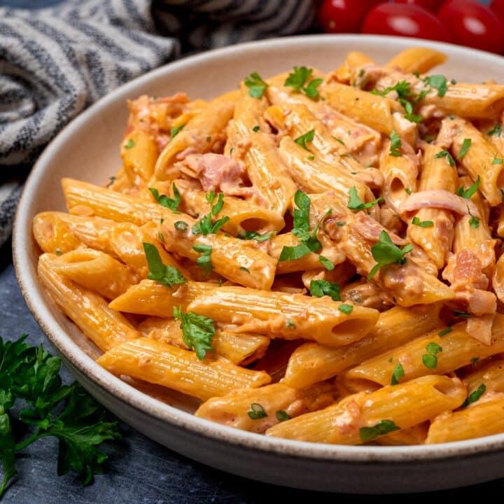 A plate of creamy ham pasta